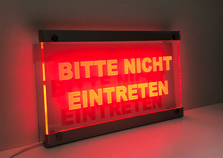 rotes LED-Warnschild Wandmontage